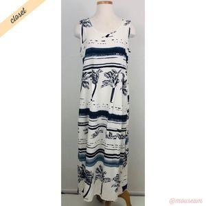 [Jam's World] White/Blue Hawaiian Print Maxi Dress